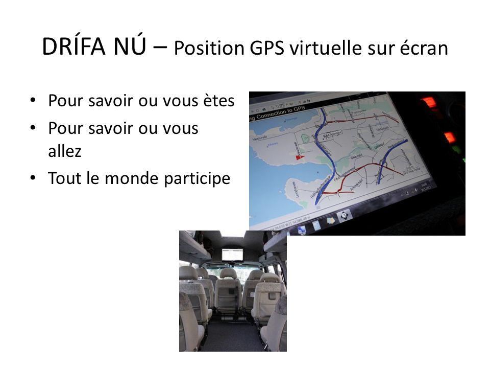 DRÍFA NÚ – Position GPS virtuelle sur écran