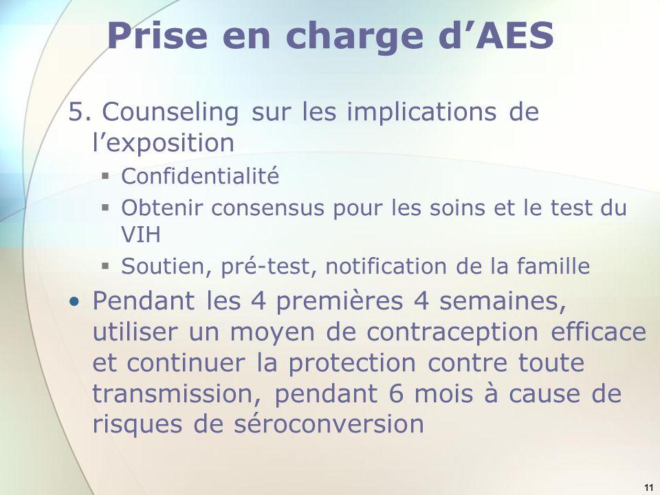 Prise en charge d'AES 5. Counseling sur les implications de l'exposition. Confidentialité. Obtenir consensus pour les soins et le test du VIH.
