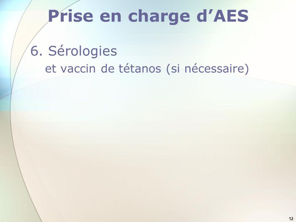 Prise en charge d'AES 6. Sérologies