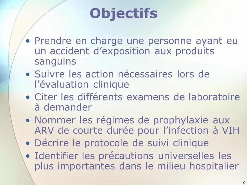 Objectifs Prendre en charge une personne ayant eu un accident d'exposition aux produits sanguins.