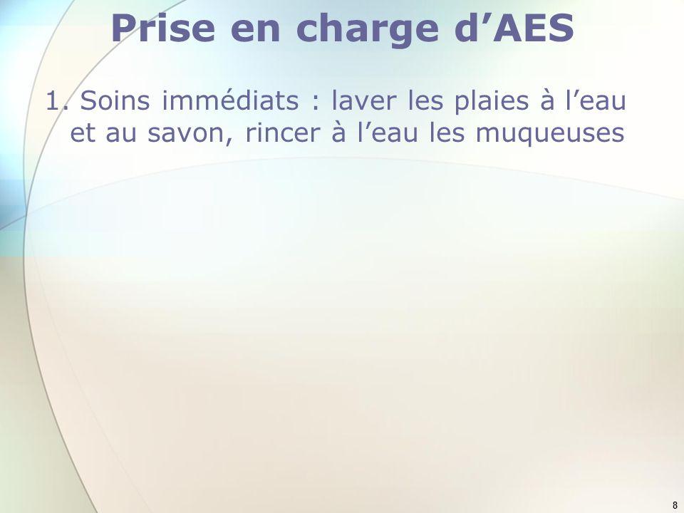 Prise en charge d'AES 1. Soins immédiats : laver les plaies à l'eau et au savon, rincer à l'eau les muqueuses.