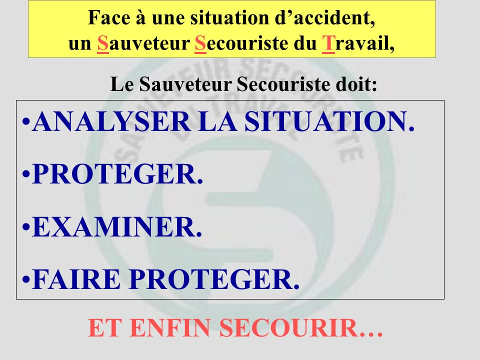 ANALYSER LA SITUATION. PROTEGER. EXAMINER. FAIRE PROTEGER.