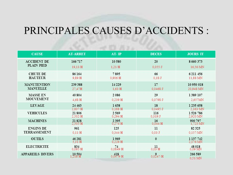 PRINCIPALES CAUSES D'ACCIDENTS :