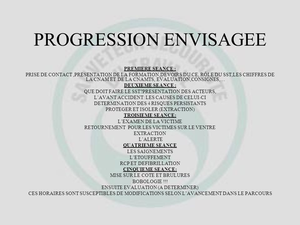 PROGRESSION ENVISAGEE