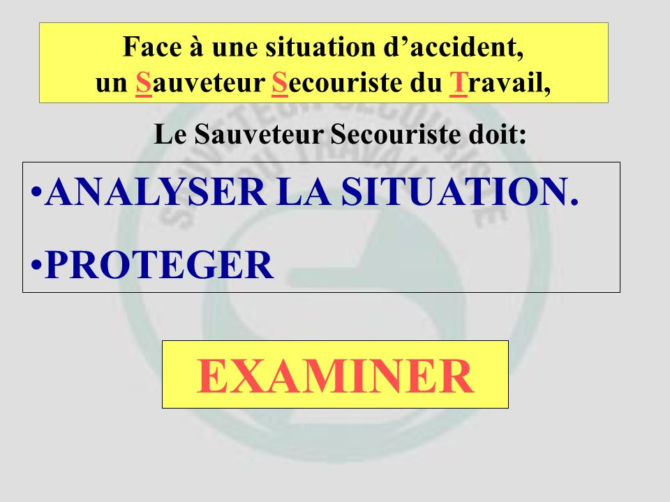 EXAMINER ANALYSER LA SITUATION. PROTEGER