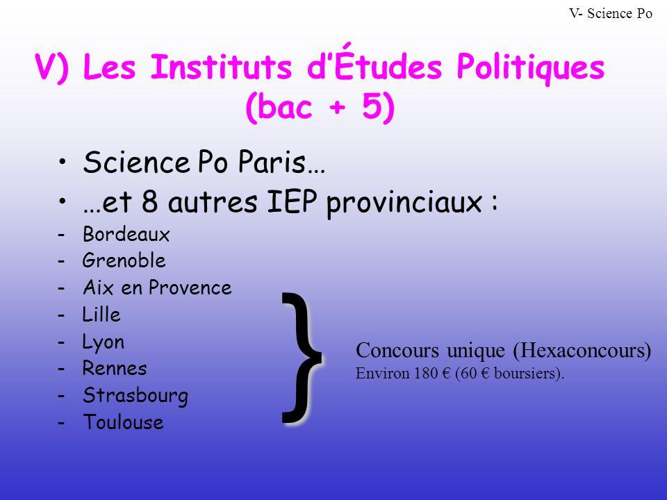 V) Les Instituts d'Études Politiques (bac + 5)