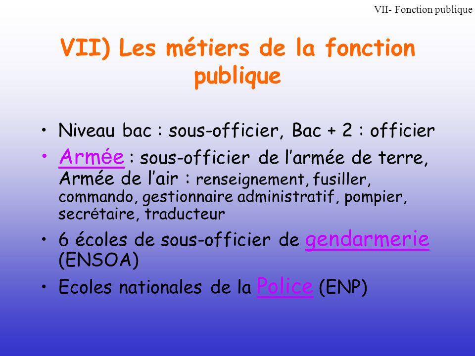 VII) Les métiers de la fonction publique
