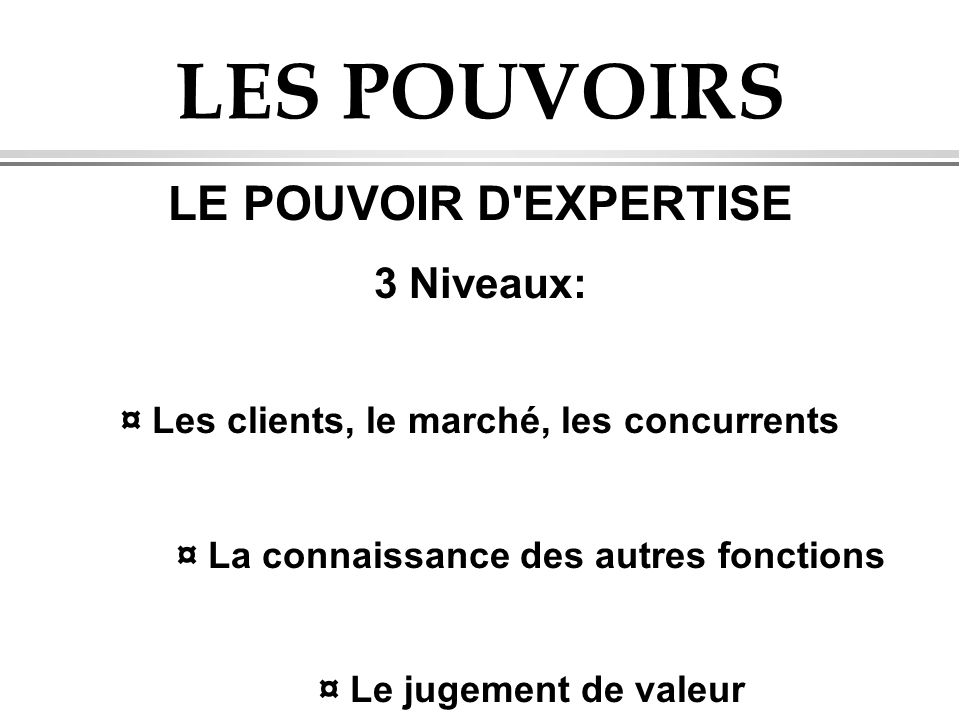 LES POUVOIRS LE POUVOIR D EXPERTISE 3 Niveaux: