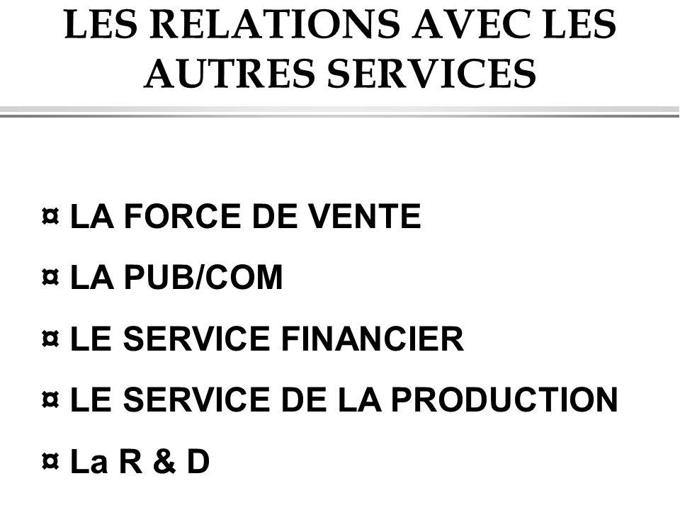 LES RELATIONS AVEC LES AUTRES SERVICES