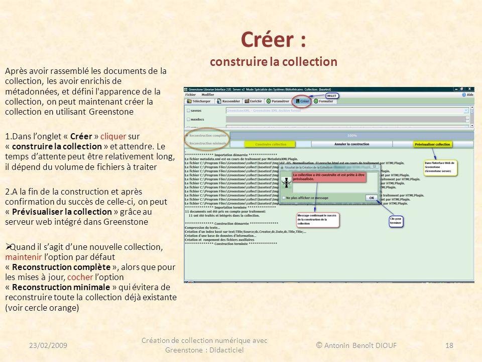Créer : construire la collection