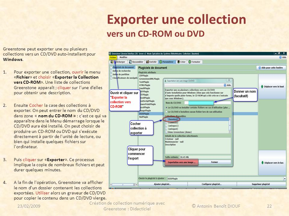 Exporter une collection vers un CD-ROM ou DVD