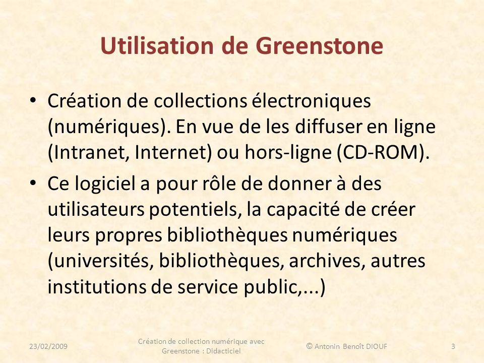 Utilisation de Greenstone