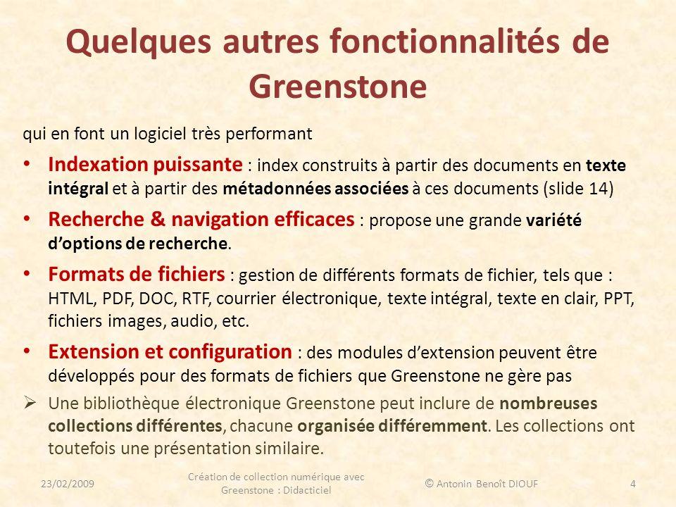 Quelques autres fonctionnalités de Greenstone