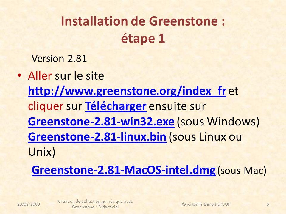 Installation de Greenstone : étape 1