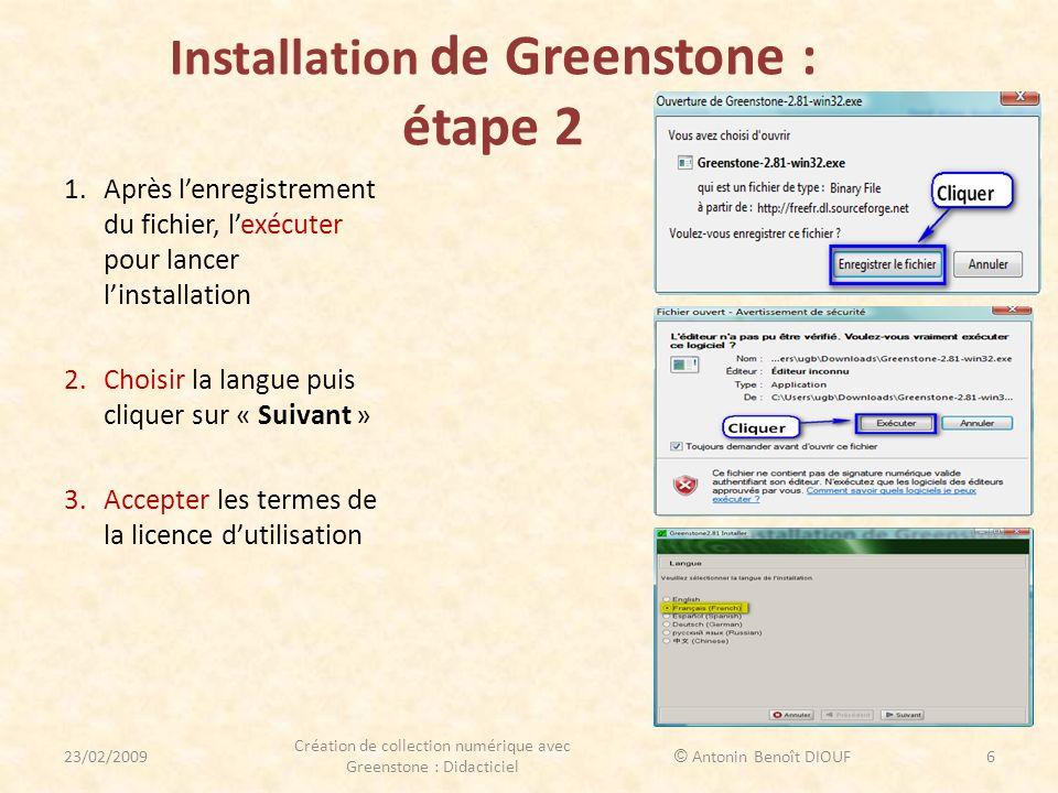 Installation de Greenstone : étape 2