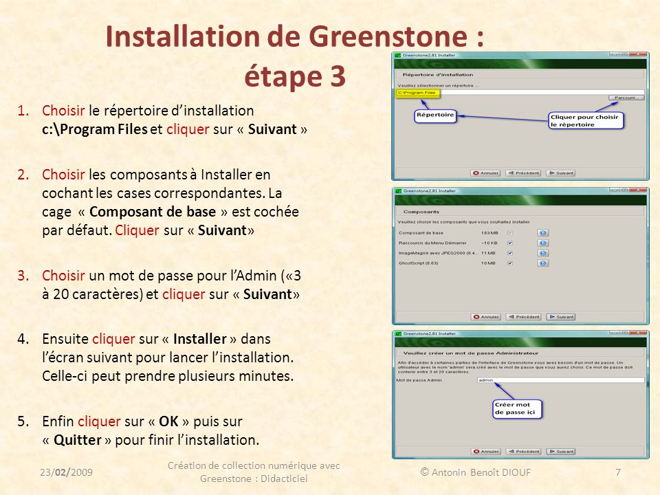 Installation de Greenstone : étape 3