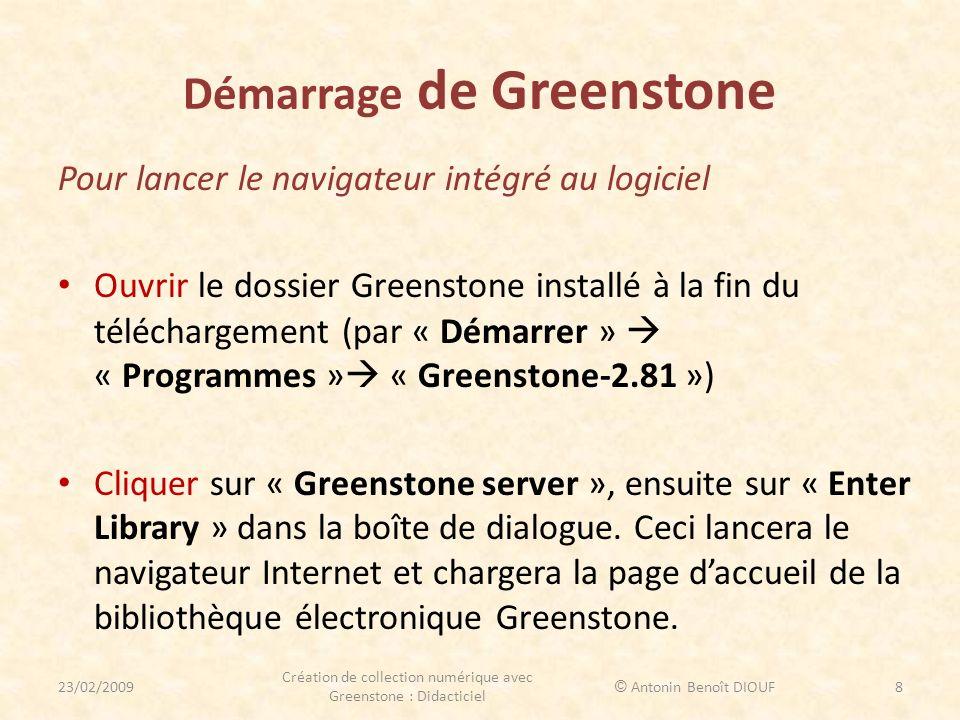 Démarrage de Greenstone