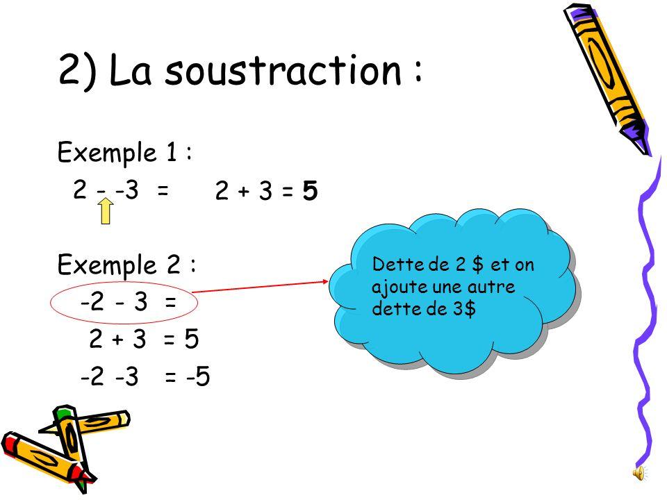 2) La soustraction : Exemple 1 : 2 - -3 = 2 + 3 = 5 Exemple 2 :