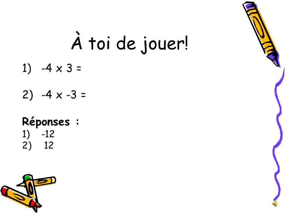 À toi de jouer! -4 x 3 = -4 x -3 = Réponses : -12 12