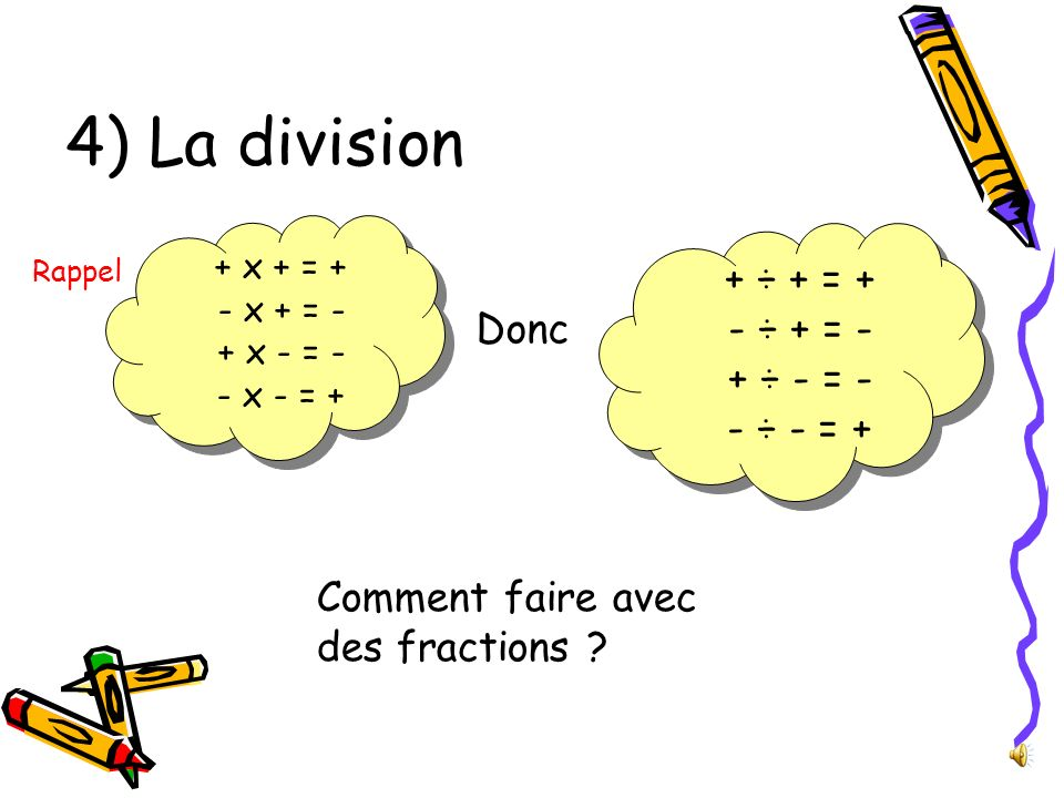 4) La division + ÷ + = + - ÷ + = - + ÷ - = - - ÷ - = + Donc