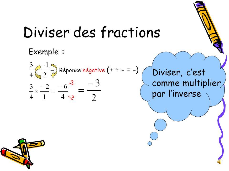 Diviser des fractions Diviser, c'est comme multiplier par l'inverse