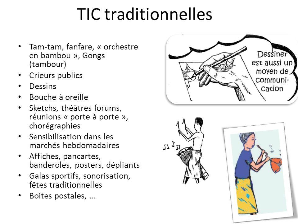 TIC traditionnelles Tam-tam, fanfare, « orchestre en bambou », Gongs (tambour) Crieurs publics. Dessins.