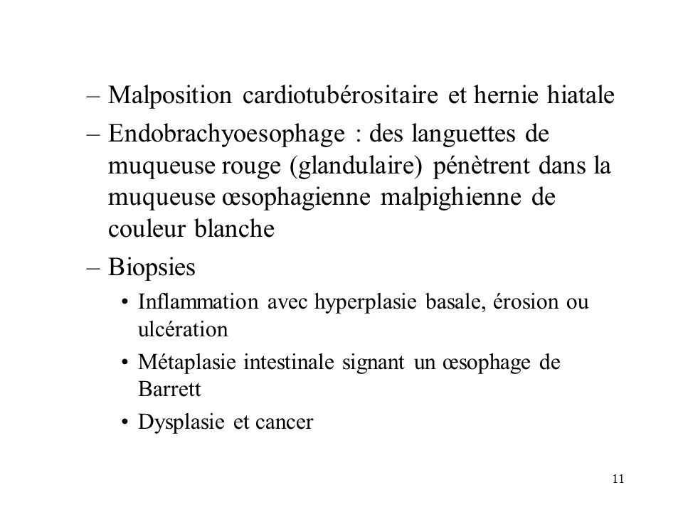 Malposition cardiotubérositaire et hernie hiatale