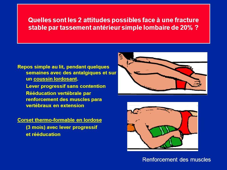 Quelles sont les 2 attitudes possibles face à une fracture stable par tassement antérieur simple lombaire de 20%