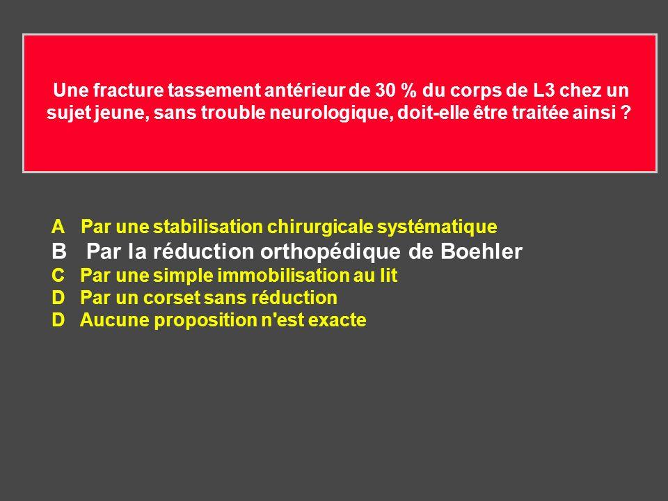 B Par la réduction orthopédique de Boehler