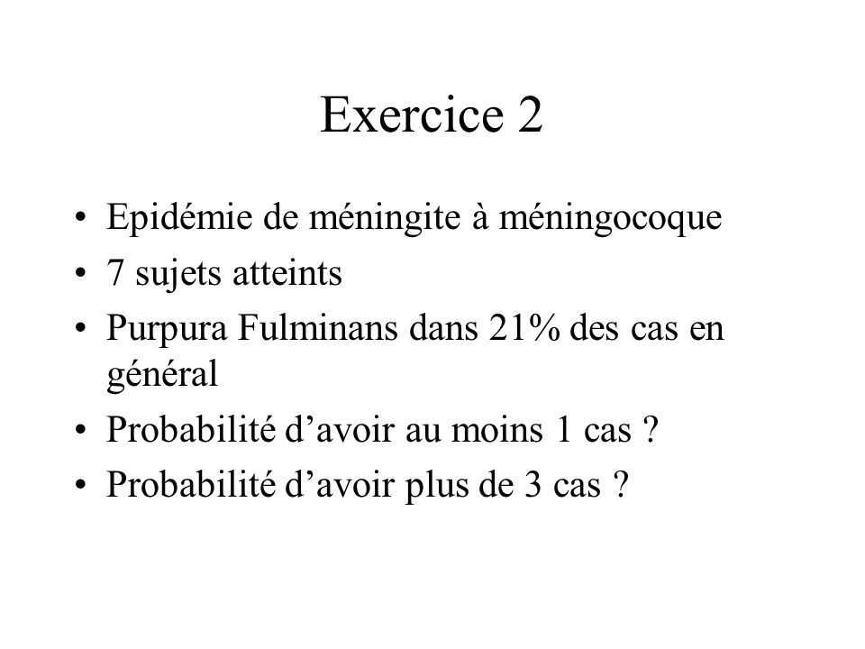 Exercice 2 Epidémie de méningite à méningocoque 7 sujets atteints