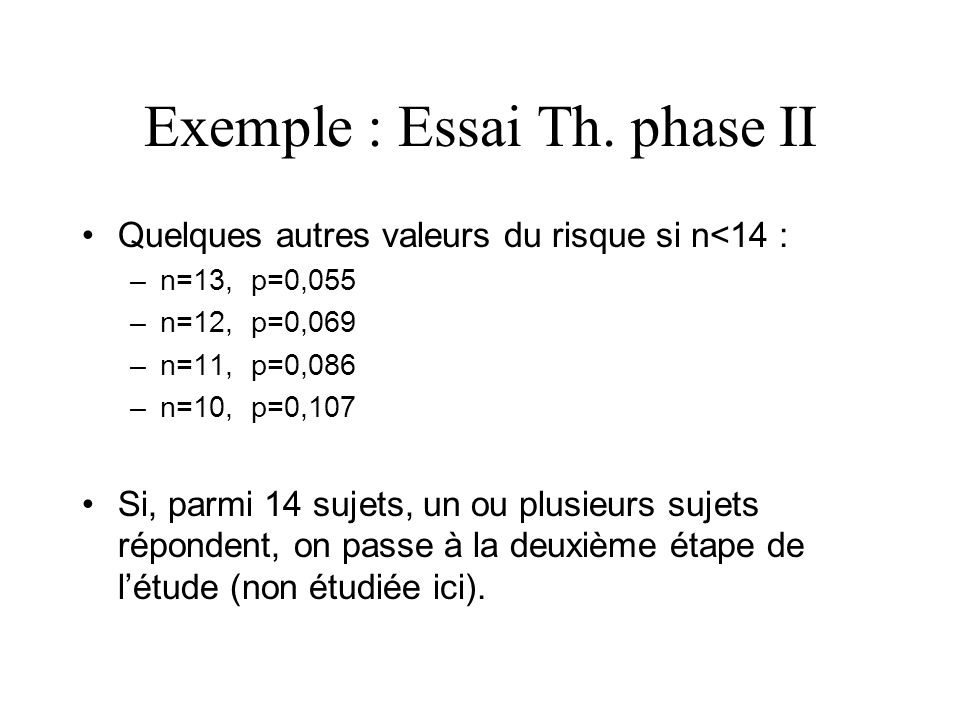 Exemple : Essai Th. phase II
