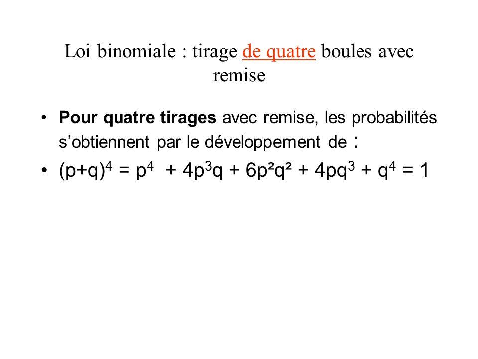 Loi binomiale : tirage de quatre boules avec remise