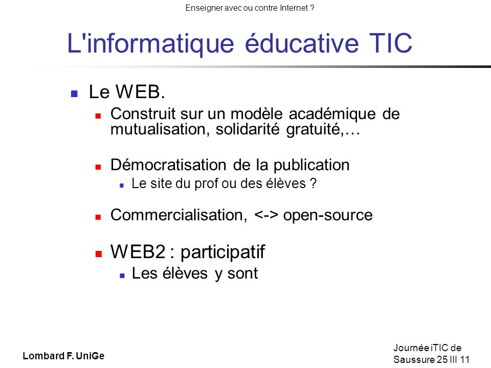 L informatique éducative TIC