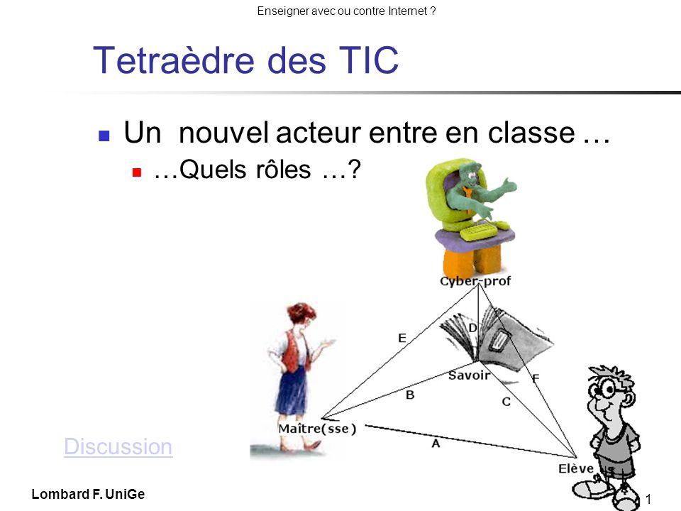 Tetraèdre des TIC Un nouvel acteur entre en classe … …Quels rôles …