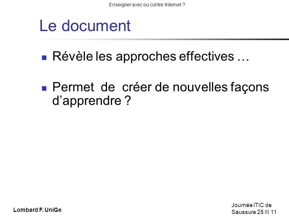 Le document Révèle les approches effectives …
