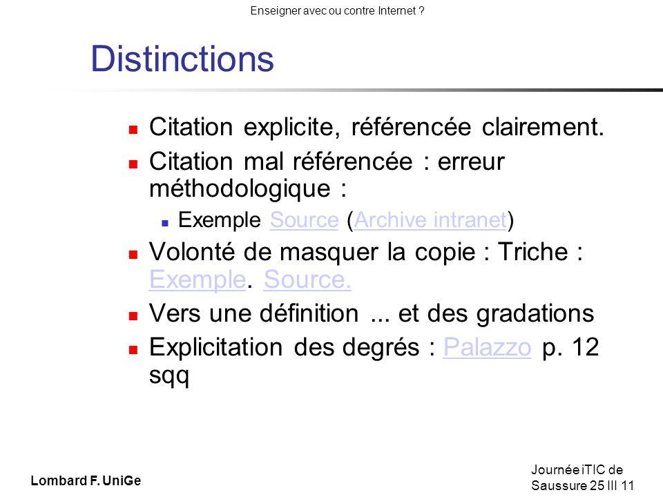 Distinctions Citation explicite, référencée clairement.