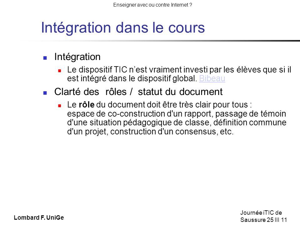 Intégration dans le cours