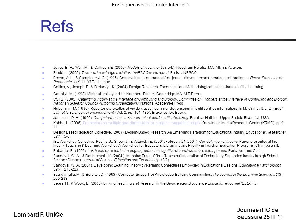 Refs Joyce, B. R., Weil, M., & Calhoun, E. (2000). Models of teaching (6th. ed.). Needham Heights, MA: Allyn & Abacon.