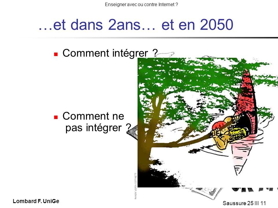 …et dans 2ans… et en 2050 Comment intégrer Comment ne pas intégrer