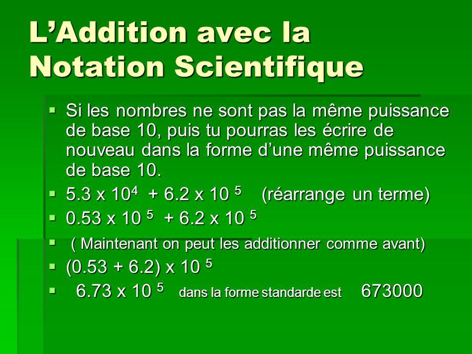 L'Addition avec la Notation Scientifique