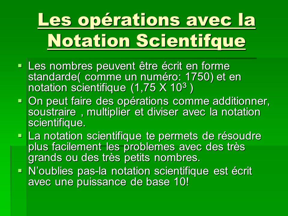 Les opérations avec la Notation Scientifque
