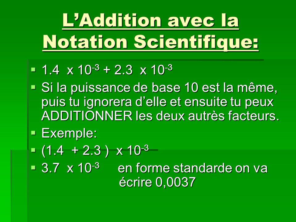 L'Addition avec la Notation Scientifique: