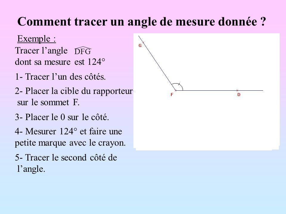 Comment tracer un angle de mesure donnée