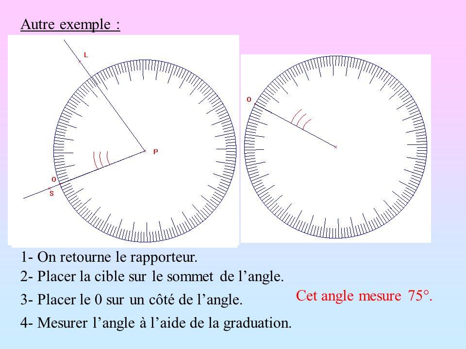 Autre exemple : 1- On retourne le rapporteur. 2- Placer la cible sur le sommet de l'angle. Cet angle mesure 75°.