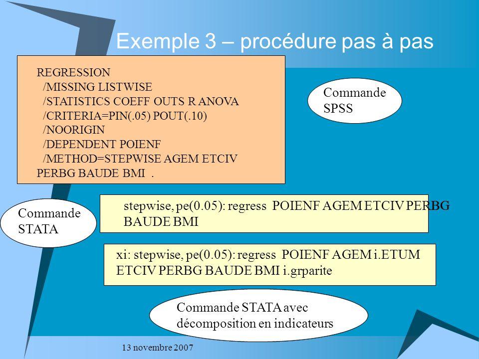 Exemple 3 – procédure pas à pas
