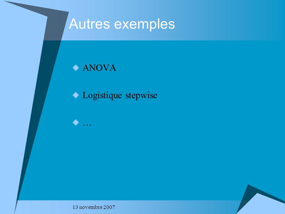 Autres exemples ANOVA Logistique stepwise … 13 novembre 2007
