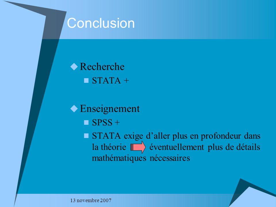 Conclusion Recherche Enseignement STATA + SPSS +