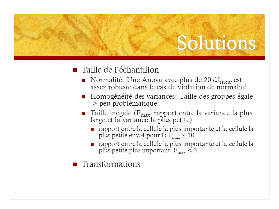Solutions Taille de l'échantillon Transformations