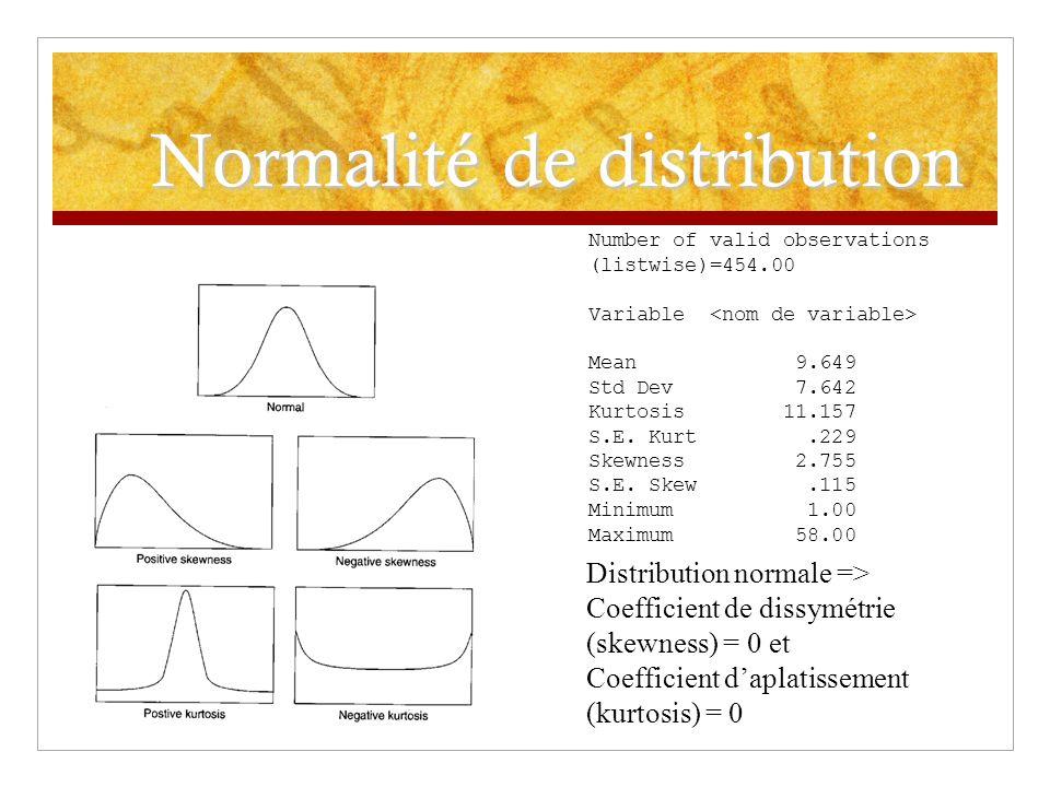 Normalité de distribution