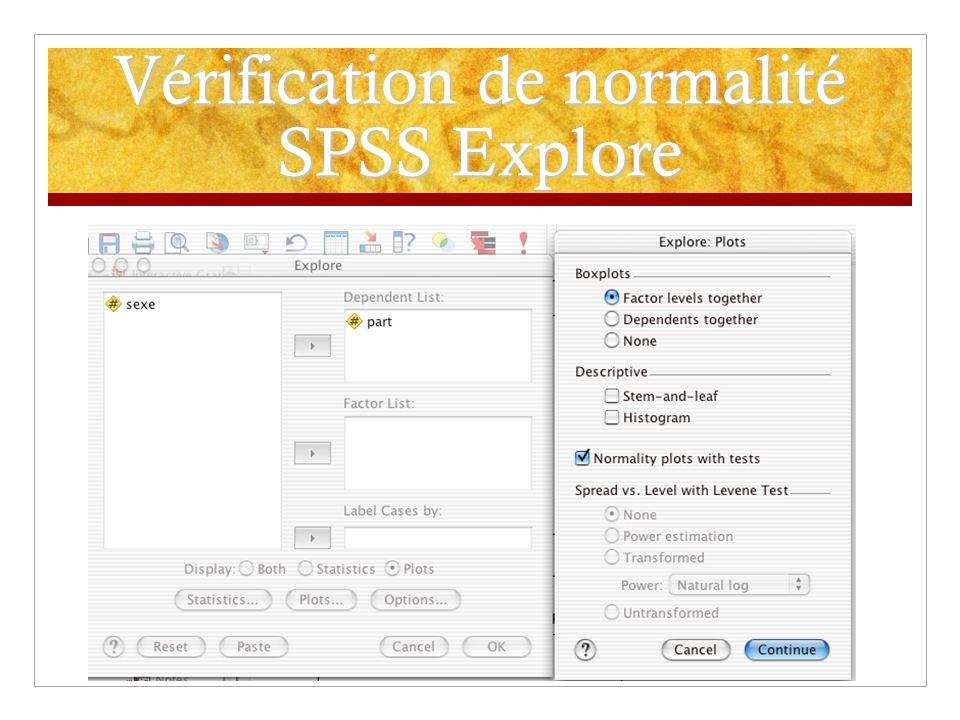 Vérification de normalité SPSS Explore